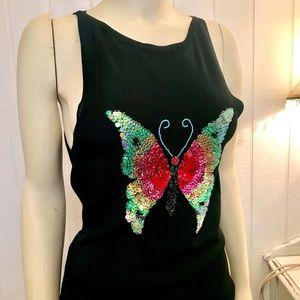 Studio Y Sequin Butterfly Tank Top